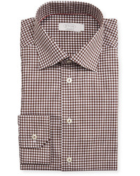 Eton Contemporary Fit Bold Gingham Dress Shirt Brown