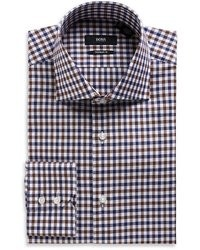 Hugo Boss Gerald Regular Fit Spread Collar Easy Iron Cotton Gingham Dress Shirt