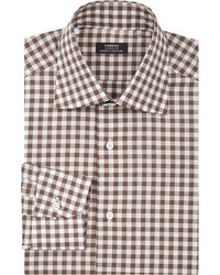 Fairfax Gingham Dress Shirt Brown Size 155