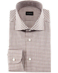 Gingham woven dress shirt brown medium 442933
