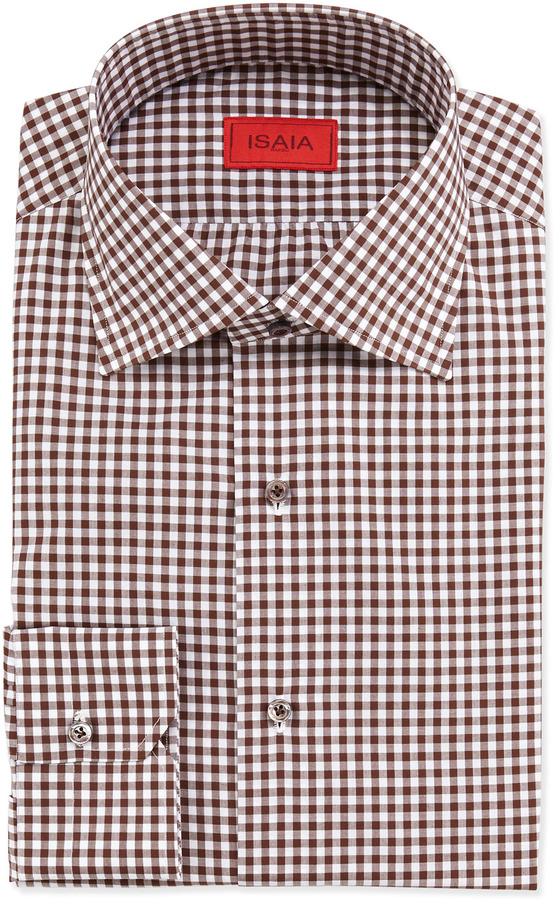 Isaia gingham check dress shirt brown where to buy how for Ladies brown check shirt