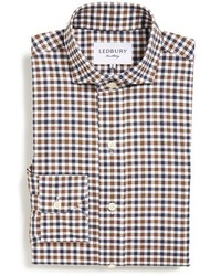 Ledbury Grove Slim Fit Gingham Dress Shirt Size 155 Brown