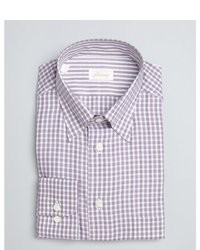 Brioni Purple And White Gingham Button Down Dress Shirt