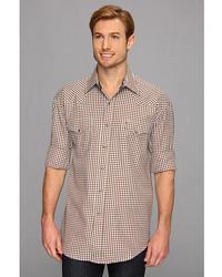 Stetson Brown Blue Gingham Flat Weave Shirt 9020