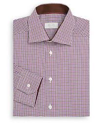 Contemporary fit micro gingham check cotton dress shirt medium 216848