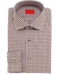 Isaia gingham check dress shirt brown medium 99429
