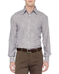 Long sleeve check shirt brownblue medium 216926