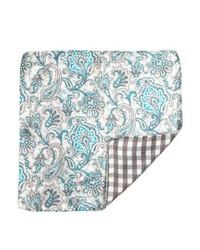 Daniel Dolce Brown And Aqua Paisley Silk Reversible Pocket Square
