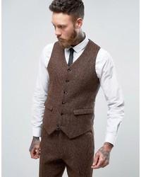 Asos Slim Suit Vest In Harris Tweed Check 100% Wool
