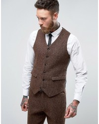 Asos Slim Suit Vest In Harris Tweed Check 100% Wool