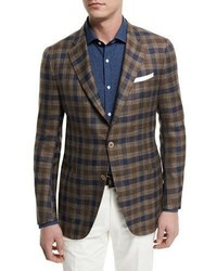 Large check two button sport coat brownnavy medium 1314695