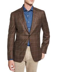 Windowpane check two button sport coat brown medium 1314698