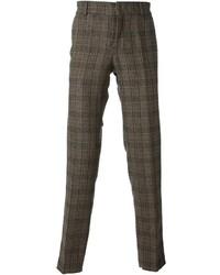 Brown Gingham Wool Dress Pants