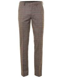 Topman Brown Check Skinny Fit Suit Pants