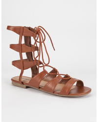 Soda Sunglasses City Classified Mid Height Ghillie Gladiator Sandals