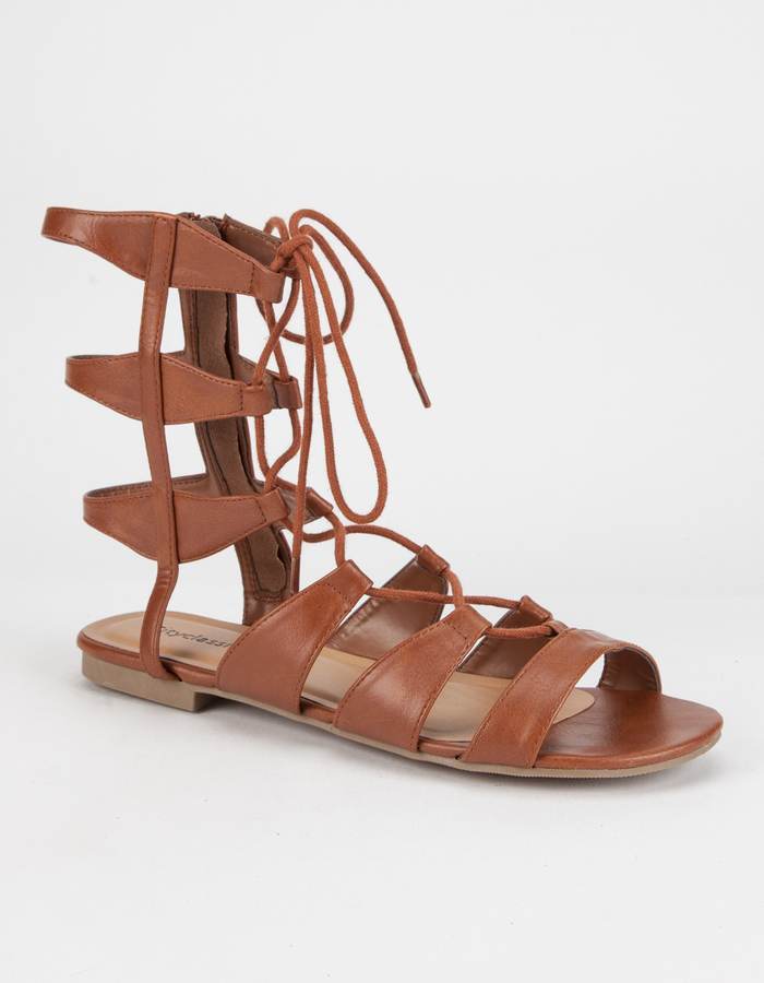 c4bc47d386a ... Soda Sunglasses City Classified Mid Height Ghillie Gladiator Sandals ...