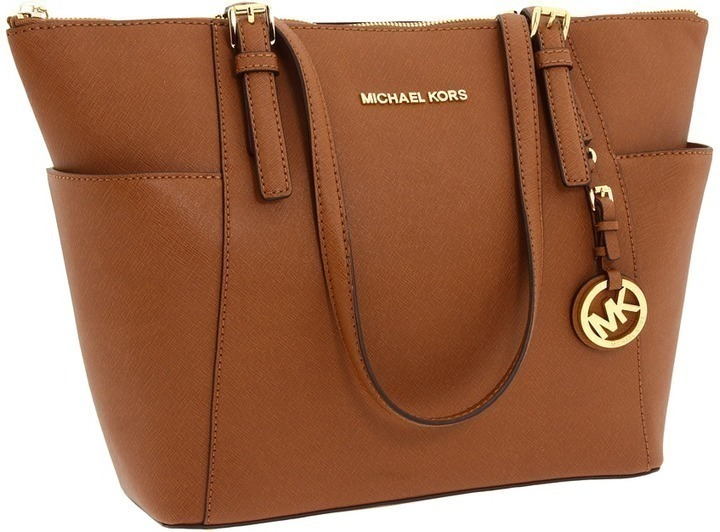29ed06555134 ... Brown Handbags MICHAEL Michael Kors Michl Michl Kors Jet Set Saffiano  Top Zip Tote Tote Handbags ...