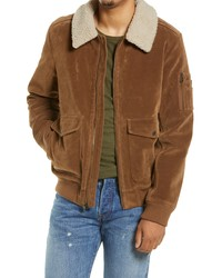 Levi's Faux Suede Aviator Bomber Jacket With Removable Faux Shearling Collar