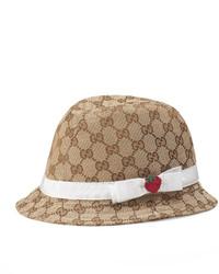 Gucci Girls Gg Canvas Fedora Hat W Strawberry Beige