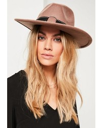 Missguided Brown Studded Fedora