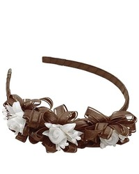 Lito Little Girls Brown White Tulle Flower Hair Accessory Headband