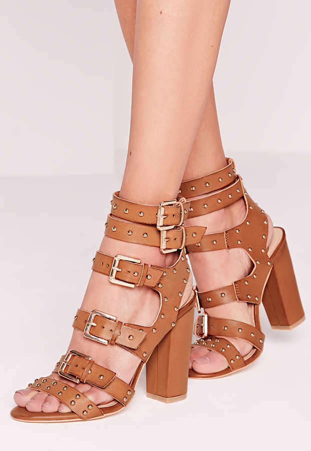 Missguided Nude Perspex Panelled Strappy Gladiator Heels