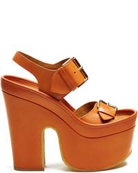 Stella McCartney Slingback Faux Leather Platform Heels