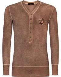 Dolce & Gabbana V Neck Long Sleeve T Shirt