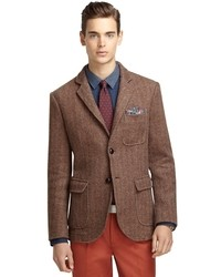 Brown Herringbone Blazer | Men's Fashion