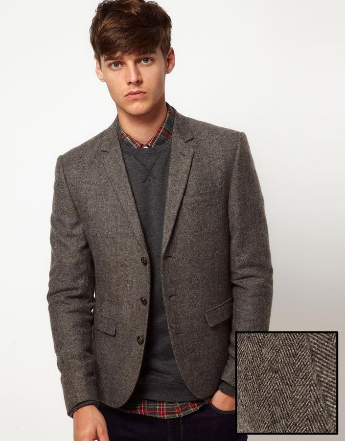 brown herringbone blazer asos brand slim fit tweed blazer where to buy how to wear. Black Bedroom Furniture Sets. Home Design Ideas