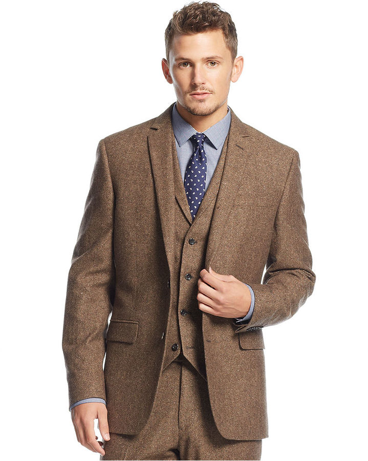 Bar III Carnaby Collection Slim Fit Brown Tweed Herringbone Jacket ...