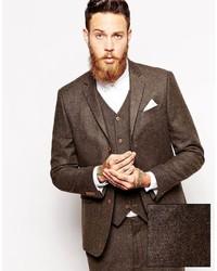 Asos Brand Slim Suit Jacket In Herringbone
