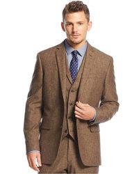 Bar III Carnaby Collection Slim Fit Brown Tweed Herringbone Jacket