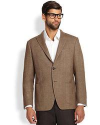 Saks Fifth Avenue Collection Herringbone Wool Blazer