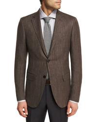 Ermenegildo Zegna Herringbone Wool Blend 2 Button Sport Coat