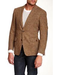 Ibiza Arindi Brown Herringbone Two Button Notch Lapel Wool Blazer