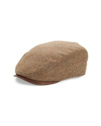 Brown Herringbone Flat Cap