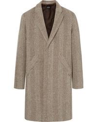 A.P.C. Herringbone Virgin Wool Blend Tweed Overcoat