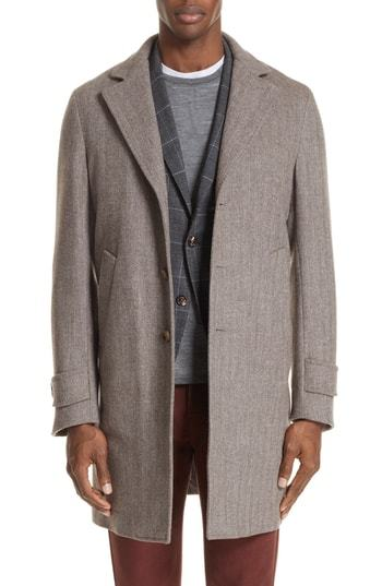 Eleventy Trim Fit Herringbone Wool Cashmere Coat