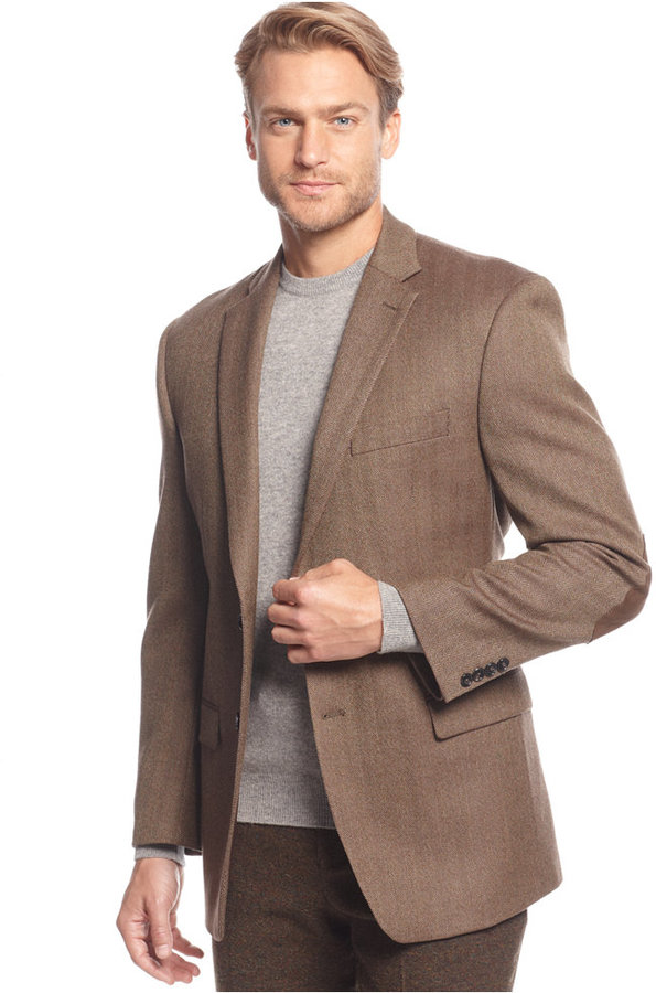 Lauren Ralph Lauren Light Brown Herringbone Elbow Patch Sport Coat ...