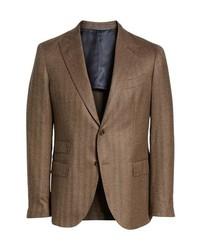 Eleventy Trim Fit Herringbone Wool Sport Coat