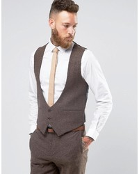 Asos Slim Vest In Brown Herringbone