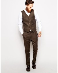 Asos Brand Slim Fit Vest In Herringbone