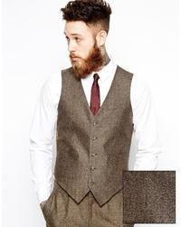 Asos Brand Slim Vest In Herringbone