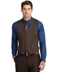 Brooks brothers harris tweed herringbone vest medium 27238