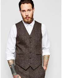 Asos Slim Vest In Brown Harris Tweed 100% Wool