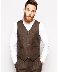 Asos Slim Vest In Herringbone