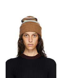 Lanvin Brown Cashmere Striped Beanie