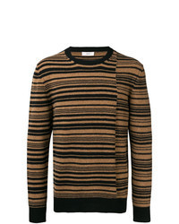 Brown Horizontal Striped Crew-neck Sweater