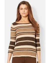 Stripe cotton blend sweater medium 77653